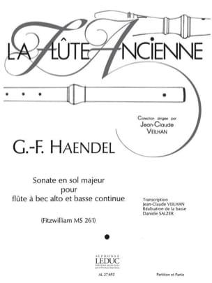 HAENDEL - Sonate en sol majeur - flûte à bec alto - Partition - di-arezzo.fr