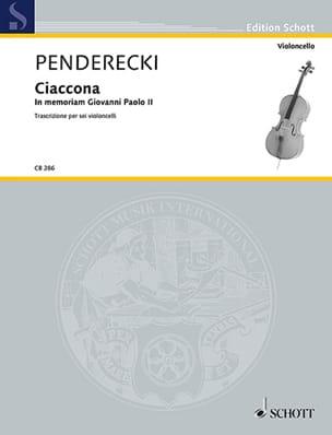 Ciaccona - 6 Violoncelles - PENDERECKI - Partition - laflutedepan.com