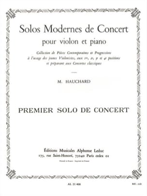 Maurice Hauchard - Concert Solo n ° 1 - Sheet Music - di-arezzo.co.uk