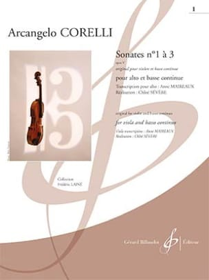 Arcangelo Corelli - Sonates opus 5 n° 1 à 3 - Alto et BC - Partition - di-arezzo.fr