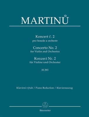 Bohuslav Martinu - Violin Concerto No. 2 - Violin and Piano - Partition - di-arezzo.co.uk
