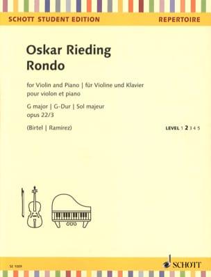 Oskar Rieding - Rondo en Sol Majeur, op. 22 n° 3 - Violon et piano - Partition - di-arezzo.fr