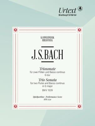 BACH - Triosonate en Sol Majeur, BWV 1039 - 2 Flûtes et BC - Partition - di-arezzo.fr