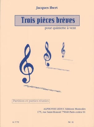 Jacques Ibert - 3 Pieces brèves - Partition + parties - Partition - di-arezzo.fr