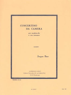 Jacques Ibert - Concertino da Camera - Conducteur - Partition - di-arezzo.fr