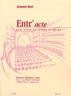 Jacques Ibert - Entr'acte - Flute harp - Sheet Music - di-arezzo.co.uk