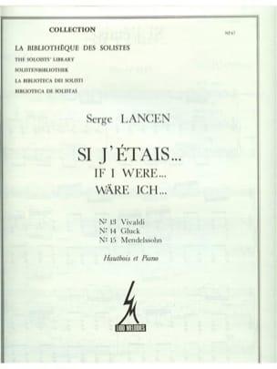 Serge Lancen - Si J'etais N°13 Vivaldi / N°14 Gluck / N°15 Mendelssohn - Partition - di-arezzo.fr
