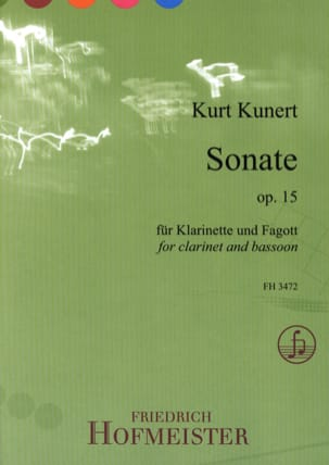 Kurt Kunert - Sonate - Clarinette et Basson - Partition - di-arezzo.fr