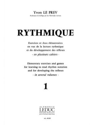 Rythmique - Volume 1 - Prev Yvon Le - Partition - laflutedepan.com