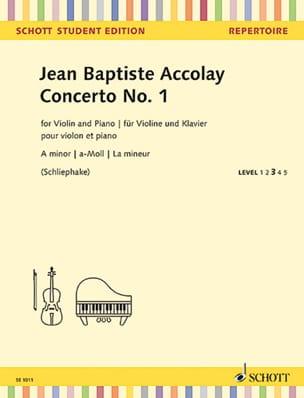 Concerto n° 1 Jean-Baptiste ACCOLAY Partition Violon - laflutedepan