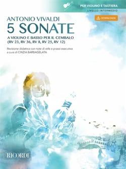 5 Sonates - Violon et BC - VIVALDI - Partition - laflutedepan.com