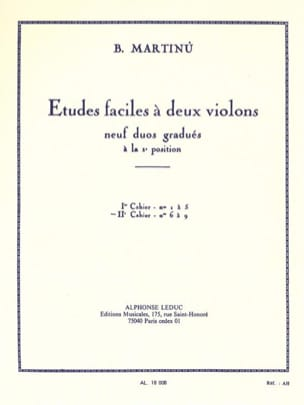 Bohuslav Martinu - Etudes faciles à 2 violons - Volume 2 - Partition - di-arezzo.fr