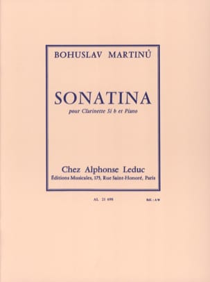 Bohuslav Martinu - Sonatina for clarinet - Sheet Music - di-arezzo.co.uk