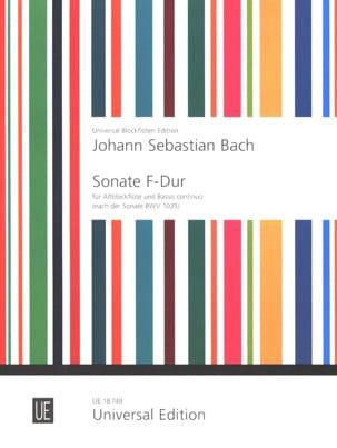 Johann Sebastian Bach - Sonate F-Dur für Altblockflöte und Basso continuo - Partition - di-arezzo.fr