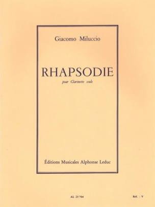 Rhapsodie Giacomo Miluccio Partition Clarinette - laflutedepan