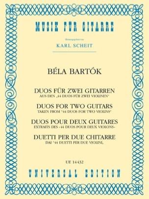 Duos 1931 BARTOK Partition Guitare - laflutedepan