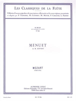 MOZART - M. Duport's Menuet - Piano Flute - Sheet Music - di-arezzo.co.uk