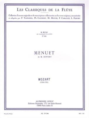 Menuet de M. Duport - Flûte piano MOZART Partition laflutedepan