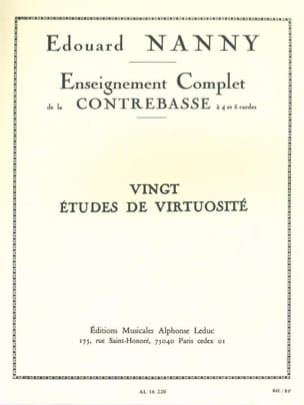 Edouard Nanny - 20 Virtuosity Studies - Double Bass - Sheet Music - di-arezzo.co.uk