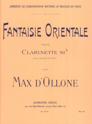 Fantaisie orientale Max d' Ollone Partition Clarinette - laflutedepan