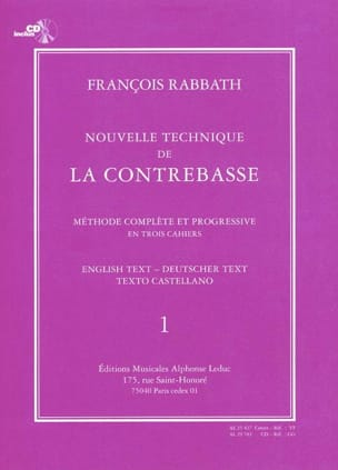 François Rabbath - Nouvelle technique de contrebasse, Volume 1 - Partition - di-arezzo.fr
