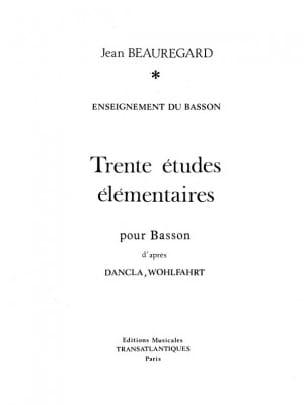 30 Etudes - Beauregard Jean - Partition - laflutedepan.com