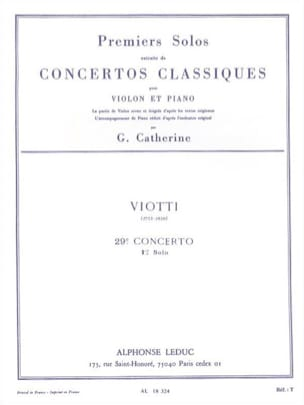 Viotti Giovanni Battista / Catherine Georges - 1st Solo of the Concerto n ° 29 - Sheet Music - di-arezzo.co.uk