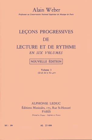 Alain Weber - Progressive Lessons of Reading and Rhythm Volume 1 - Sheet Music - di-arezzo.com