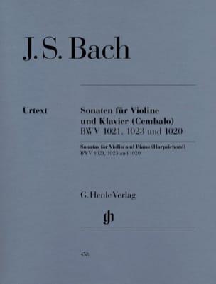 Johann Sebastian Bach - Sonates pour violon BWV 1020, 1021,1023 - Partition - di-arezzo.fr