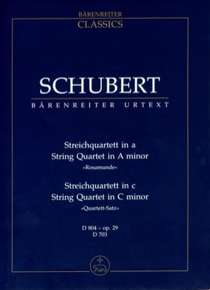 Franz Schubert - Streichquartett a-moll D 804 (Rosamunde) - Quartettsatz c-moll D 703 - Partition - di-arezzo.fr