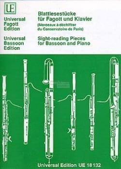 - Blattlesestücke für Fagott und Klavier - Partition - di-arezzo.fr