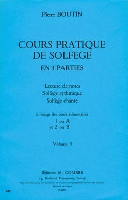 Pierre Boutin - Practical Course of Solfeggio - Volume 3 - Partition - di-arezzo.com