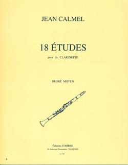 Jean Calmel - 18 Etudes - Clarinet - Partition - di-arezzo.co.uk