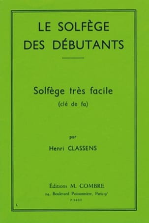 Henri Classens - Beginners' Solfeggio - Key of F - Sheet Music - di-arezzo.co.uk