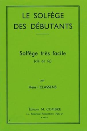 Henri Classens - Le solfège des débutants – clé de fa - Partition - di-arezzo.fr