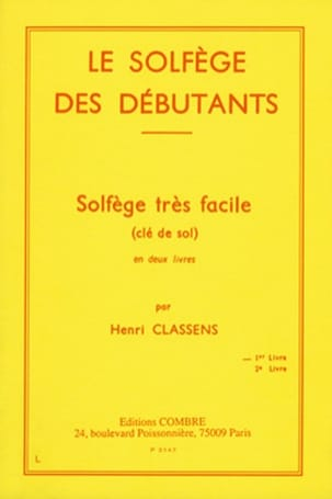 Henri Classens - The Beginners Solfeggio - Treble clef - Sheet Music - di-arezzo.co.uk