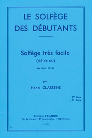 Henri Classens - Beginners' Solfeggio - Volume 2 treble clef - Sheet Music - di-arezzo.co.uk