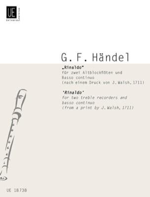 Georg Friedrich Haendel - Rinaldo (Ouverture, Arien u. Duette) –2 Altoblockflöten Bc - Partition - di-arezzo.fr