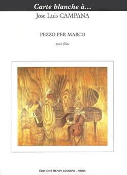 Jose Luis Campana - Pezzo per Marco - Partition - di-arezzo.fr