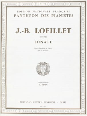 Sonate mi majeur - Hautbois - laflutedepan.com