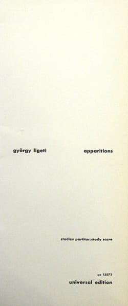 György Ligeti - Apparitions - Partitur - Partition - di-arezzo.fr