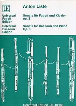 Anton Liste - Sonate für Fagott und Klavier op. 3 - Partition - di-arezzo.fr