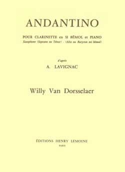 Andantino Willy van Dorsselaer Partition Clarinette - laflutedepan