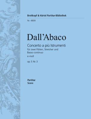 Evaristo Felice Dall'Abaco - Concerto e-Moll op. 5 n° 3 - Partition - di-arezzo.fr