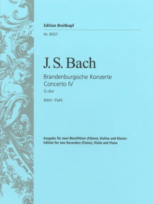 BACH - Brandenburgisches Konzert Nr. 4 – 2 Flûtes à bec violon piano - Partition - di-arezzo.fr