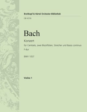 BACH - Cembalokonzert F-Dur - Partition - di-arezzo.fr