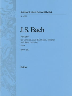 BACH - Cembalo-Konzert F-Dur BWV 1057 - Conducteur - Partition - di-arezzo.fr