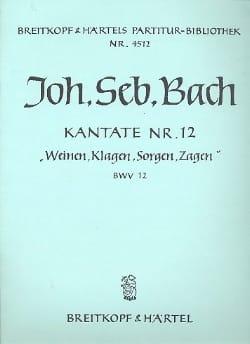 BACH - Kantate 12 Weinen, Klagen, Sorgen, Zagen - Partition - di-arezzo.fr