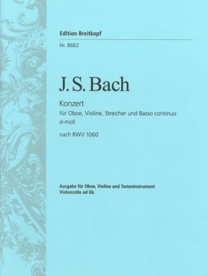 BACH - Double Concerto BWV 1060 - Oboe, Violin, Piano - Sheet Music - di-arezzo.co.uk