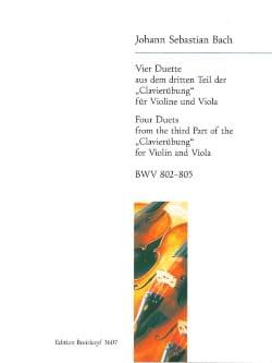 BACH - 4 Duette aus dem dritten Teil der Clavierübung BWV 802-805 - Partition - di-arezzo.fr